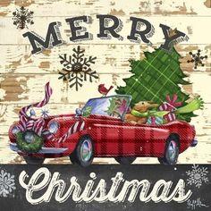 Christmas Plaid-Sports Car by Geoff Allen Tartan Christmas, Christmas Truck, Christmas Scenes, Plaid Christmas, Country Christmas, Christmas Pictures, Christmas Art, Winter Christmas, Xmas