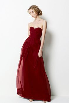 Brides.com: Radiant Red Bridesmaid Dresses for Your Bridal Party. Red Bridesmaid Dress: Watters. Full-length sweetheart dress, style 9531, $202, Watters  See more Watters bridesmaid dresses.  Shop this look at Weddington Way.