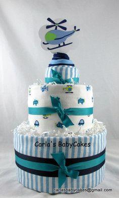 Boy Diaper CakeBlue Diaper Cake Baby Diaper by MsCarlasBabyCakes, $60.00