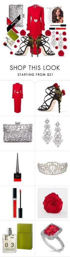"""""""Silver Red"""" by fortydeg ❤ liked on Polyvore featuring Alessandra Rich, Dolce&Gabbana, Design Lab, By Terry, Christian Louboutin, John Lewis, Saro, Escentric Molecules, Allurez and eveninglook"""