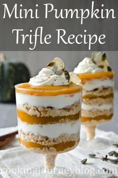 Mini pumpkin trifle is an easy pumpkin pie in a glass, made with whipped cream. Perfect Thanksgiving desserts, decorated with homemade caramel candy. #pumpkinrecipes #pumpkindessert #trifle #thanksgivingrecipes