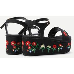 Flower Embroidery Denim Wedge Sandals (2,250 INR) ❤ liked on Polyvore featuring shoes, sandals, denim sandals, wedge sandals, wedge heel sandals, denim wedge sandals and wedge sole shoes