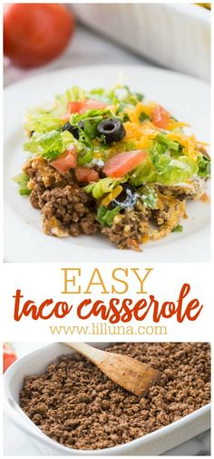 This delicious Taco Casserole is like a taco salad in casserole form! With a ground beef and biscuit base layers of sour cream lettuce tomatoes cheese and olives this taco bake is perfect for dinner or your next potluck. Easy Taco Bake, Easy Taco Casserole, Casserole Recipes, Hamburger Casserole, Chicken Casserole, Beef Dishes, Food Dishes, Main Dishes, Side Dishes