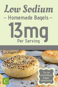 If you love bagels and have had to cut them from your low sodium diet, you are going to love this low sodium bagel recipe. Low Sodium Bread, Low Sodium Diet, Low Sodium Recipes, Sodium Foods, Low Sodium Snacks, Low Cholesterol, Gourmet Recipes, Healthy Recipes, Diet Recipes