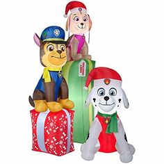 Gemmy Airblown Inflatable Paw Patrol Chase Marshal And Skye Sitting On Christmas Presents