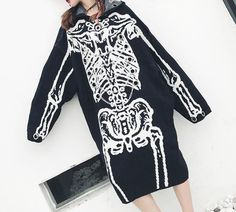 "Oversized Hooded Skeleton ""Sweater Dress"""