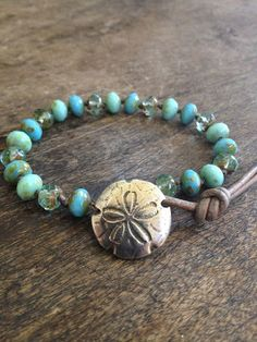 Sand Dollar Knotted Leather Bracelet, Surfer Girl, Turquoise Blue, Beach Chic Jewelry