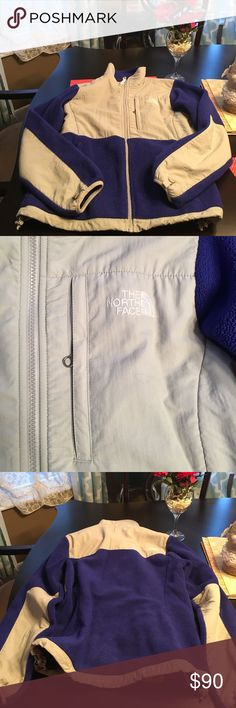 North face Denali fleece Gorgeous North Face Denali fleece jacket - great condition! Light grey and sort of a deep blue/purple. North Face Jackets & Coats