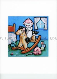 Art by Shelly Mundel. Ferret People Collection Anna's Rockin Auction For Ferrets.....Get a Cute CUTE Print and help Rescue FERRETS Too!!! = Win win!!