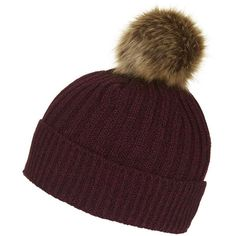 TOPSHOP Faux-Fur Pom Beanie ($26) ❤ liked on Polyvore featuring accessories, hats, burgundy, burgundy beanie, thick knit beanie, chunky knit beanie, topshop and beanie cap