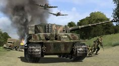 P-47 attacking a German convoy of Tiger 1s troops and trucks