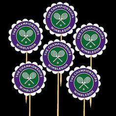 6 WIMBLEDON TENNIS Cupcake Toppers/Food Picks Table Decorations - Fun Party
