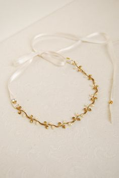 Wedding pearl headband gold leaf headpiece bridal head by Elibre -- in copper tones this might work