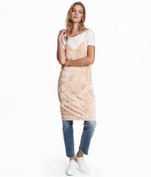 Crushed-velvet Dress | Light beige | Women | H&M US