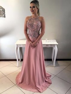 On Sale Substantial Evening Dress Long A-Line Round Neck Open Back Blush Chiffon Prom Dress With Beading Prom Dresses Long Pink, Blush Prom Dress, Open Back Prom Dresses, High Low Prom Dresses, Beaded Prom Dress, Beaded Chiffon, Beautiful Prom Dresses, Bridesmaid Dresses, Formal Dresses