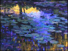 Terri Ford,  Lily Pads sur Ciel Bleu, Pastel