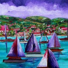 Purple skies over St John  Caribbean art  beach art Sailboat art Artist Patti Schermerhorn
