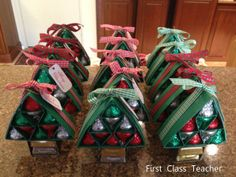 amazing christmas crafts | First Class Teacher: Hershey Kisses Christmas Tree Gifts
