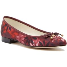 Anne Klein Akovi Bow Flat ($40) ❤ liked on Polyvore featuring shoes, flats, flat footwear, almond toe shoes, patterned shoes, anne klein flats and print flats