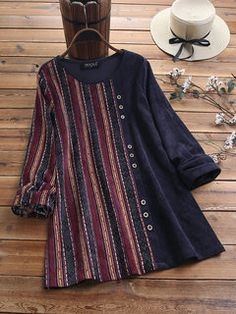 Gracila Corduroy Stripe Print Patchwork Long Sleeve Vintage Blouse look not only special, but also they always show ladies' glamour perfectly and bring surprise. Cheap Blouses, Shirt Blouses, Blouses For Women, Shirts, Stil Inspiration, Bow Blouse, Blouse Online, Blouse Styles, Stylish Dresses