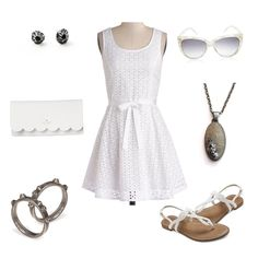 Bohemian White Eyelet Lace Summer Dress + Beach Jewelry by Casey Sharpe + Barnacle Earrings + Sand Pendant + Sunglasses + White Clutch