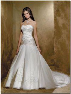 white wedding dress beautifully beaded very low drop waist