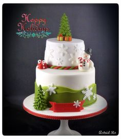 Weihnachtstorte mit Schneemann - Christmas cake with snowman - Astrid Ro's… Christmas Themed Cake, Christmas Cake Designs, Christmas Deserts, Christmas Cake Decorations, Holiday Cakes, Christmas Cakes, Gateau Iga, Fondant Cakes, Cupcake Cakes