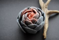 Felt Flower, Anthracite Grey Felt Flower Pin Brooch, Coral Pink Felted Flower, Ranunculus Flower, Merino wool flower