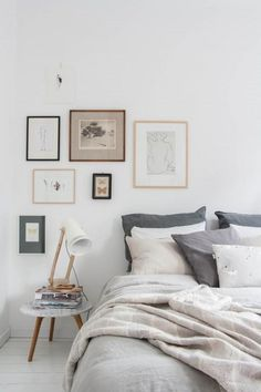 Bed and frames. 26 Easy Styling tricks for bedrooms. Love the relaxed gallery wall and blue tones.