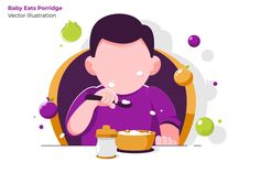, Baby Porridge - Vector Illustration- Suitable for your design needs, All elements on this template are editable with adobe illustrator! Flat Design Illustration, Character Illustration, Graphic Illustration, Illustrations, Poster Ramadhan, Character Flat Design, Cartoon Template, Islamic Cartoon, Graphic Design Posters