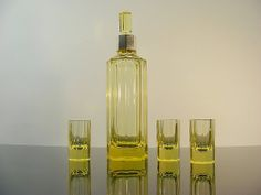 Art Deco WMF Decanter Set / Absinthe / Lead Crystal Glass / Silverplated 1920s
