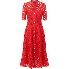Temperley London Berry Lace Neck Tie Dress ($975) ❤ liked on Polyvore featuring dresses, lace dress, lacy red dress, temperley london, tie dress and lacy dress