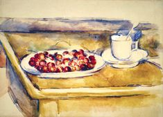 Still Life with Cherries, Still life with teacup and cherries - Paul Cezanne, 1890 Watercolor and pencil on white paper, 38 x 29 cm. Aix En Provence, Paintings Famous, Beautiful Paintings, Famous Artists, Cezanne Still Life, Watercolor Pencils Techniques, Paul Cezanne Paintings, Types Of Pencils, Greek Art
