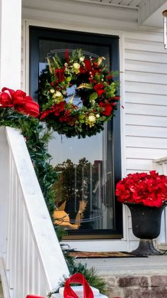 Christmas decor for my small porch. Traditional and tasteful.