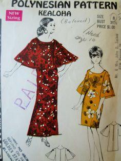 Vintage Polynesian Pattern 186, 1970s Dress Pattern, Kealoha, Hawaiian Dress, Hawaiian Pattern, Bust 31.5, Vintage Sewing, Muu Muu Pattern
