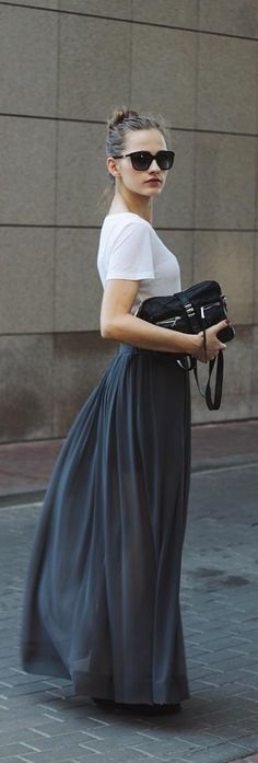 Grey Maxi Skirt - So In Carmel
