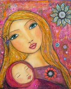 Mixed Media Mother and Baby Art Print, Large Poster Print 16 x 20 Inches, Nursery Decor, Nursery Art Print by Sascalia on Etsy https://www.etsy.com/listing/114382550/mixed-media-mother-and-baby-art-print