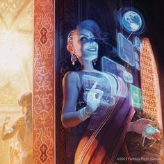 "I'm so happy to work with Fantasy Flight Games, so many great news incoming, can't wait to share all of them with you! ""Exclusive Party"" was announced yesterday in the new pack Kala Ghoda of the upcoming Mumbad Cycle, for Netrunner. Cyberpunk 2077, Cyberpunk Kunst, Mage The Ascension, Blade Runner, Character Inspiration, Character Art, Character Portraits, Dreamland, Steampunk"