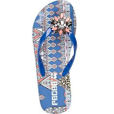 be1ee76c458c Bright blue jewel embellished flip flops