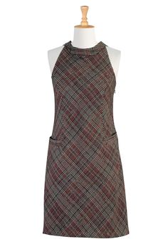 Houndstooth Check Wool Dress