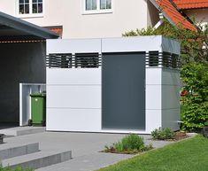 Cube Design-Gartenhaus in Lichtgrau mit anthrazitfarbener Türe