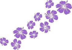 Wandtattoo Aufkleber Hibiskus Blüten 10er Set -  Blumen Tür - 24 Farben W153