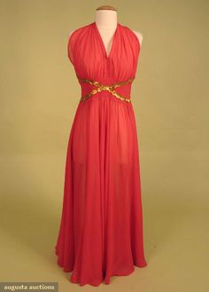 Coral Chiffon Evening Gown, 1940s, Augusta Auctions, October 2007 Vintage Clothing & Textile Auction, Lot 722