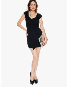 Black Look at Me Draped Cocktail Dress | $11.50 | Cheap Trendy Little Black Dresses Chic Discount Fa