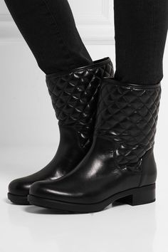 Moncler - New Piccadilly Stiva quilted leather boots Leather Boots, Black Leather, Valentino Jacket, Quilted Leather, Summer Shoes, Low Heels, Designer Shoes, Combat Boots