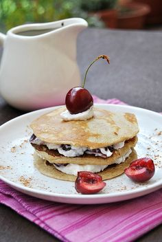 Rye flour pancakes with ricotta and cherries by Baker's Corner, via Flickr