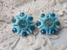 Vintage signed W. West Germany gold brassy tone blue white glass blown stunning crystal beaded cluster clip on ons earrings estate jewelry by trashy2shabby on Etsy