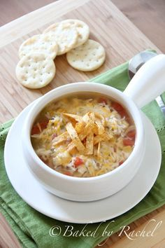 Slow Cooker Chicken Tortilla Soup from bakedbyrachel.com