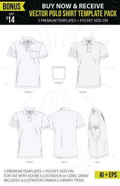 BONUS Vector Polo Shirt Mockup Templates With Every Ghosted Template PSD