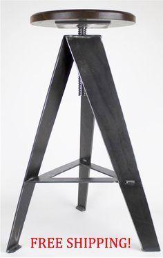 Bar Stool, furniture, swivel seat, swivel, rustic, modern, metal, wood, industrial, adjustable height, walnut seat, home decor by OldTreeWoodShop on Etsy https://www.etsy.com/listing/272732542/bar-stool-furniture-swivel-seat-swivel
